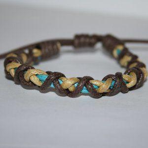 Brown tan and aqua blue cord adjustable bracelet